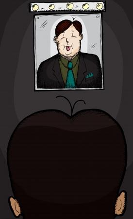 awkward: Hombre de negocios con problema del pelo mirando en el espejo con la lengua fuera