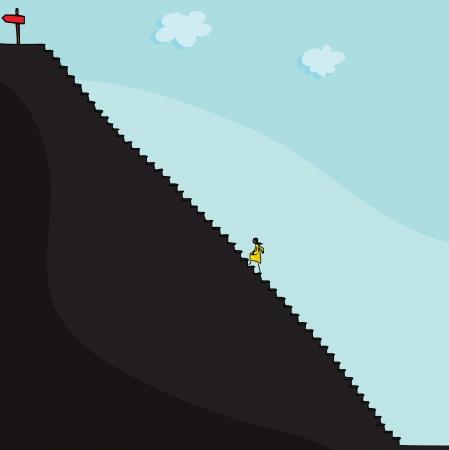 결정된: 노란색 스커트에 어두운 피부 여자는 키가 계단을 등반