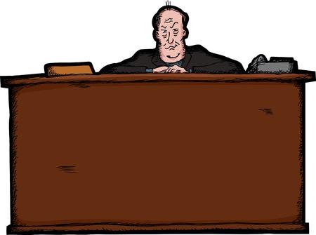 business skeptical: Intimidar empresario calvo detr�s de un gran escritorio Vectores