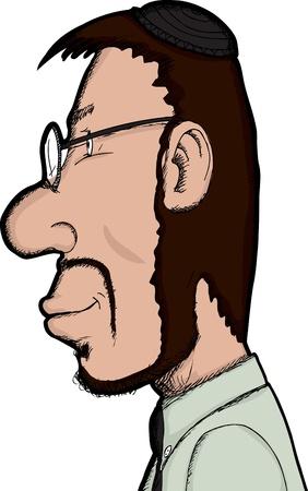 Side view of Caucasian Jewish man in beard and skullcap