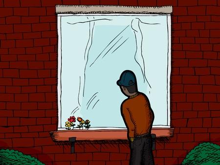 Dark skinned man standing outside a window looking in