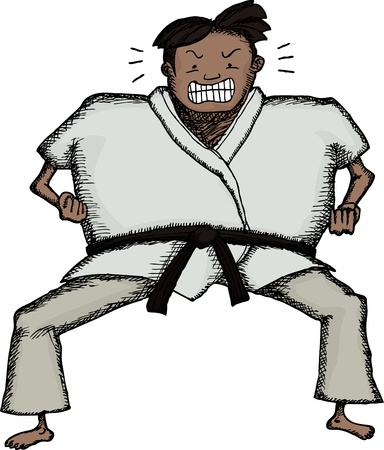 Aggressive man in Karate stance over white background Vector