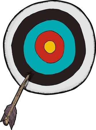 Wooden arrow stuck in the side of a target Ilustração