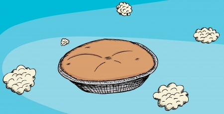 Cartoon of a baked pie in the sky with clouds Illusztráció