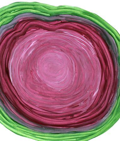 paranoia: Round dark red shape in tempera paint over white