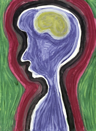 Abstract painting of human profile with brain photo