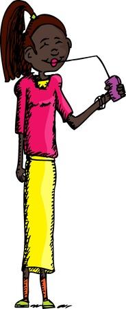 Mignon potable haut femme noire d'une longue paille Banque d'images - 15494845