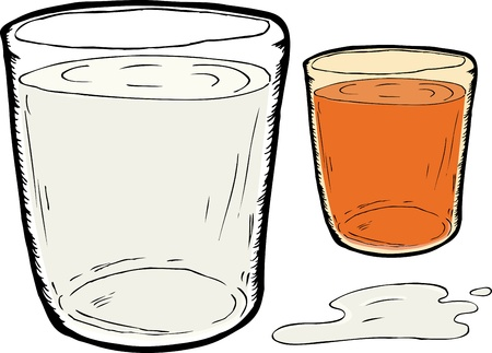 carrot juice: Isolated beverage glasses of milk and carrot juice with spill
