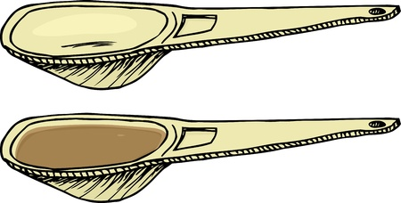 Cartoon of empty and full measuring spoon over white