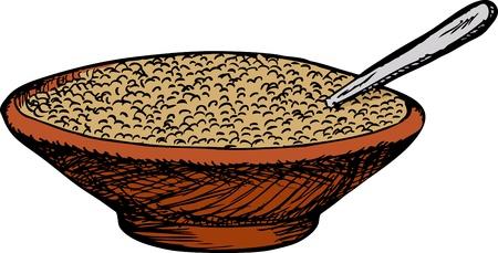 흰색 배경 위에 숟가락 시리얼의 그릇