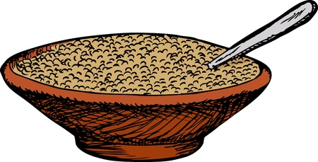brown rice: Bowl of cereal with spoon over white background