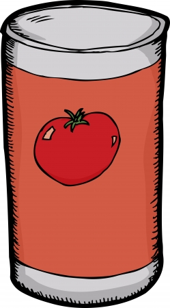 canned food: Cartoon of generic tomato sauce over white background