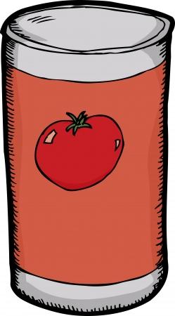 lata: Historieta de la salsa de tomate gen�rico sobre fondo blanco