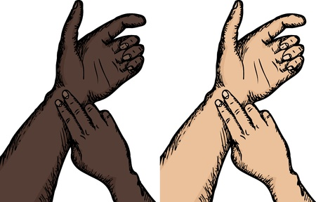 primeros auxilios: Cierre de vista de la persona que toma el pulso en la piel oscura y la luz Vectores