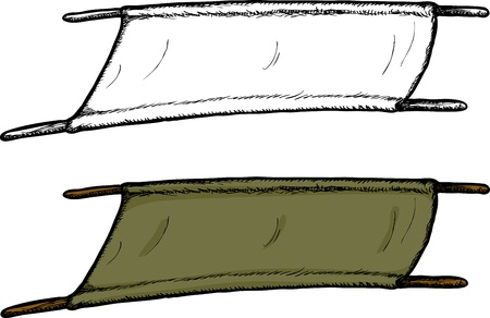 Old fashioned green cloth army stretcher with wooden handles Vector