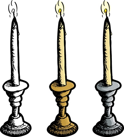 sketch out: Brass, chrome and blank candle holder with lit candle Illustration