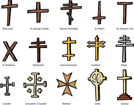 jeruzalem: Set van historisch accuraat kruizen vertegenwoordigen verschillende christelijke kerken Stock Illustratie