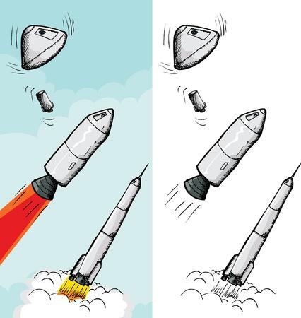 여러 단계의 서로 다른 배경에서 로켓 일러스트