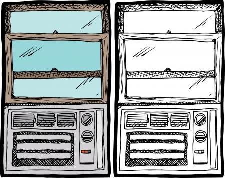 Kleine airconditioner in een houten raam