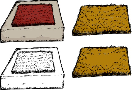 welcome mat: Isolated coir fiber door mats on over white background Illustration