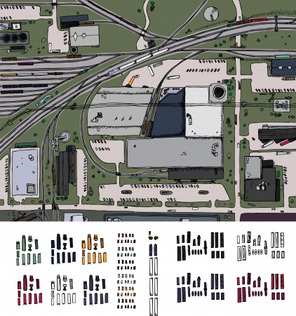 Industrial district illustration with trains, trucks and cars