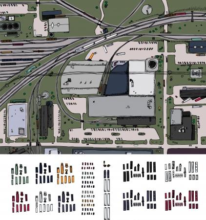 Industriële district illustratie met treinen, vrachtwagens en auto's Vector Illustratie