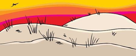 Sand dunes with sunset and bird flying above  イラスト・ベクター素材