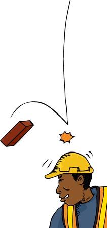 Man bouwvakker geraakt op het hoofd met bakstenen