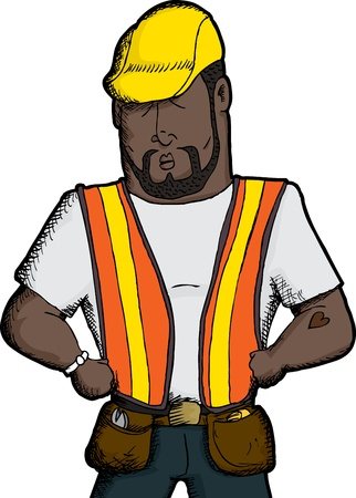 heart tattoo: Muscular Black construction worker with heart tattoo Illustration