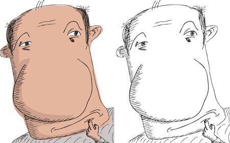 balding: Balding European man scratching chin with finger Illustration
