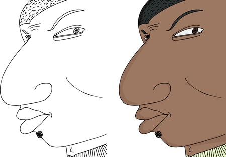 insulted: Young frowning black man with expression on isolated background Illustration