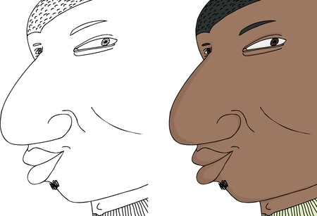 easygoing: Young grinning black man with expression on isolated background Illustration