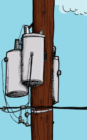 telephone pole: Three transformers on an electrical pole with wires Illustration