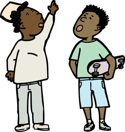 Two young boys over white background looking up Vector