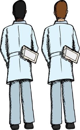 dark skin: Rear view of standing doctor in light and dark skin Illustration