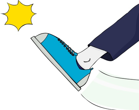 rejection: Generic foot kicking something with explosion effect over white Illustration