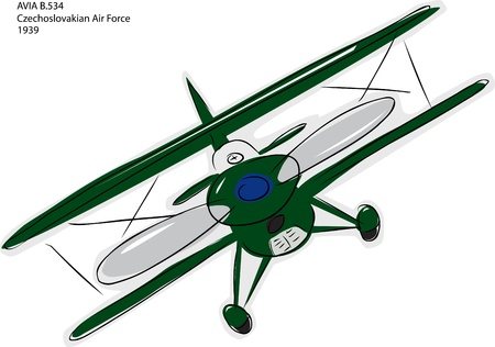 World war 2: Sketch of Avia B.534 World War II combat bi-plane over white