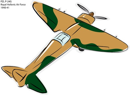 world war ii: Sketch of PZL P-24G World War II combat plane over white Illustration