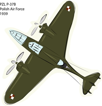World war 2: Sketch of PZL P-37B Polish Air Force combat plane over white