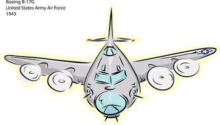 bomber plane: Sketch of Boeing B-17G World War II bomber plane over white