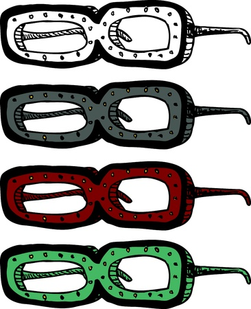 Pair of gold studded thick eyeglasses over white Stock Vector - 16697041