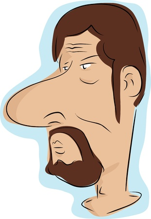 cranky: Caricature of man with beard and moustache over white background