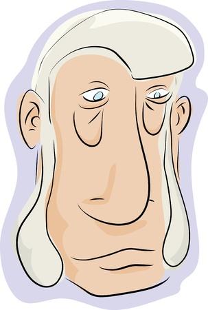 hombre caricatura: Caricatura del hombre con patillas barba sobre fondo blanco