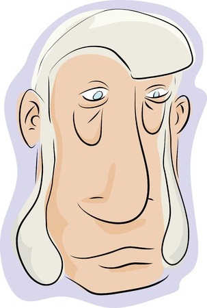 grumpy: Caricature of man with beard sideburns over white background