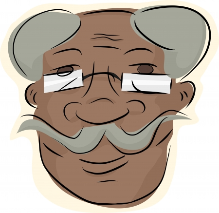 old people smiling: Grinning man with eyeglasses and handlebar moustache