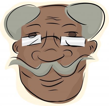 Homme souriant avec des lunettes et la moustache guidon Banque d'images - 16713235