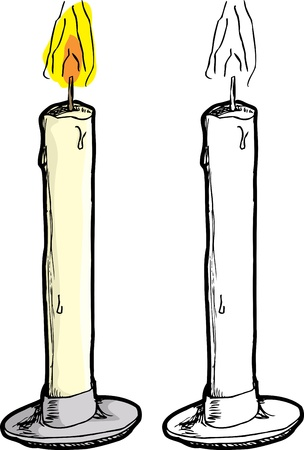 candlelight: Burning wax candle in holder over white background Illustration