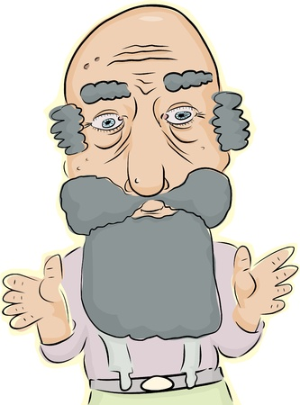 Bearded balding elderly man with beard over white background Illustration