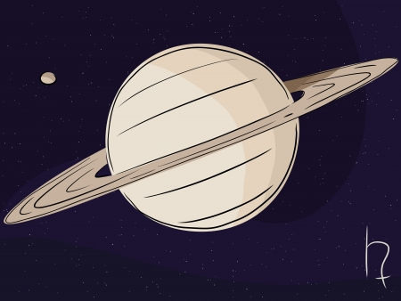 titan: Planet Saturn with the moon Titan in outer space Illustration