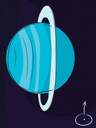 Planet Uranus with its rings in outer space Stock Vector - 16849387